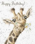 Wrendale Birthday Flowers Giraffe Birthday Card